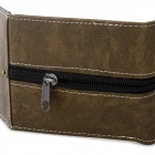 WB-2097 Men's Casual Retro Punk Style Zipper PU Purse Wallet - Brown
