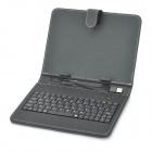 "USB Wired Keyboard + PU Full Body Stand Case w/ Stylus / OTG Function for 8"" Tablet PC - Black"