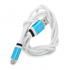 USB 2.0 Male to Micro USB Male Charging Data Cable - White + Blue (104cm)