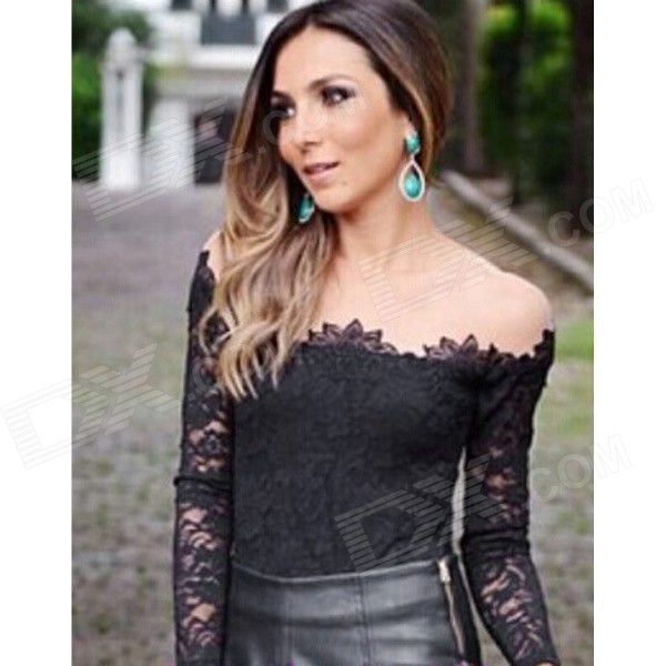 TXTE-A3135 Women's Trendy Sexy Long-sleeved Lace Tops Shirt - Black (Size L)