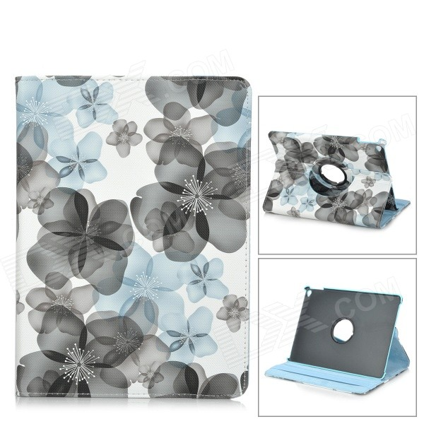 Flowers Pattern Flip-Open PU Leather Case for w/ Stand IPAD AIR 2 - White + Light Grey funny moustaches pattern pu leather flip open case w stand for ipad 2 the new ipad ipad 4