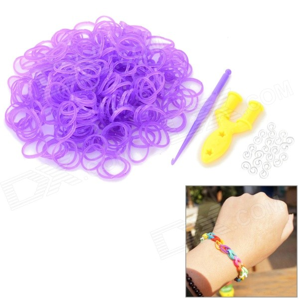 Glow-in-the-Dark DIY Educational Silicone Rubber Bands for Children - Purple (300 PCS) crocus elite crocus elite b33108 19