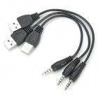 USB Male to 3.5mm Male Car Audio Aux Connection Cable - Black (3 PCS)