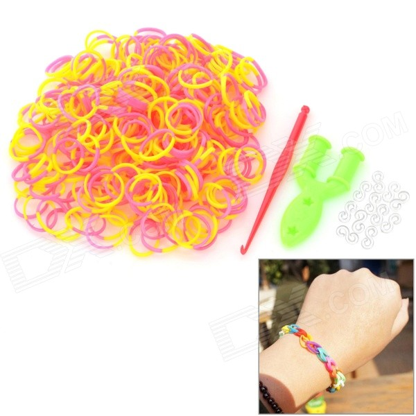 DIY Educational Silicone Rubber Bands for Children - Yellow + Pink (300 PCS)