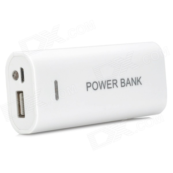 DIY 2 x 18650 Li-ion Mobile Power Bank Case w/ LED Flashlight - White