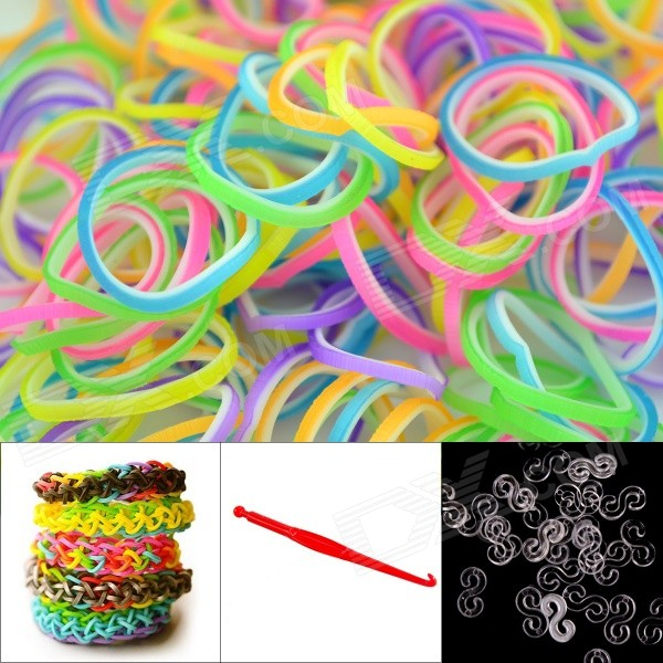 DIY Elastic Silicone Rainbow Bands + S Hooks Set for Children - Multicolored + White 8004 12 in 1 kid s bathing non toxic vinyl squeaky toys set multicolored