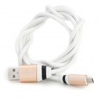 USB 2.0 Male to Micro USB Male Data Charging Cable - White + Gold (104cm)