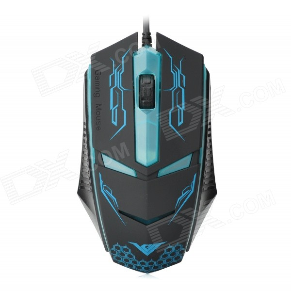 RAJFOO Terminator USB 2.0 Wired 1600DPI Game Mouse - Black + Blue