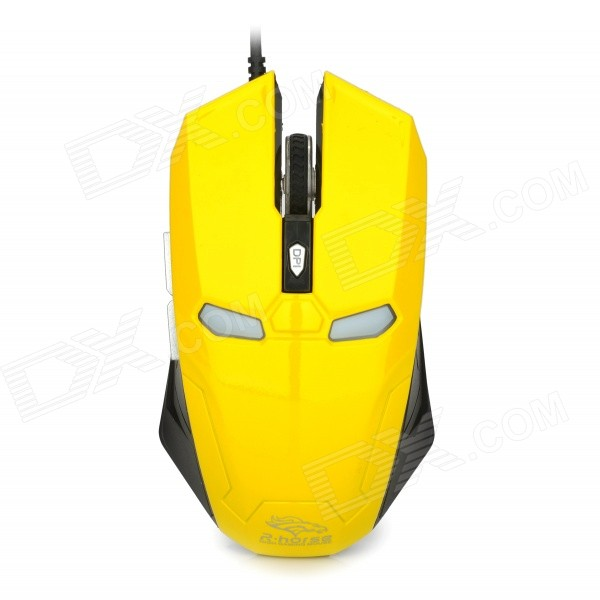R-Horse FC-1616 Stylish USB 2.0 Wired Game Mouse - Yellow + Black