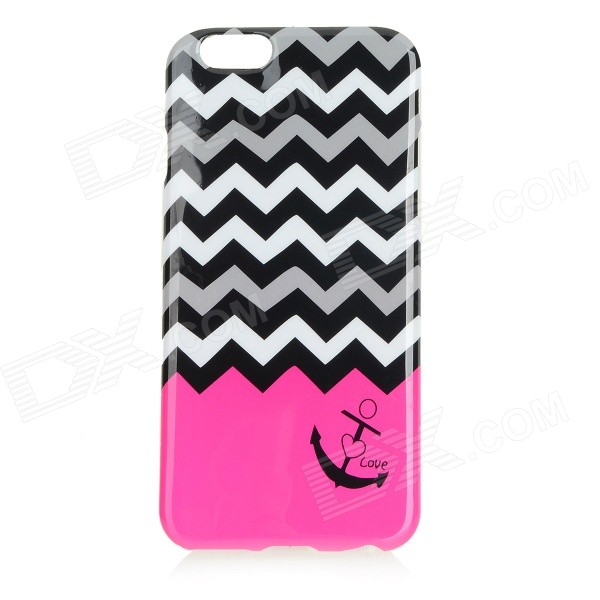 Anchor Patterned Protective TPU Back Case Cover for IPHONE 6 - Deep Pink + Black cartoon pattern matte protective abs back case for iphone 4 4s deep pink
