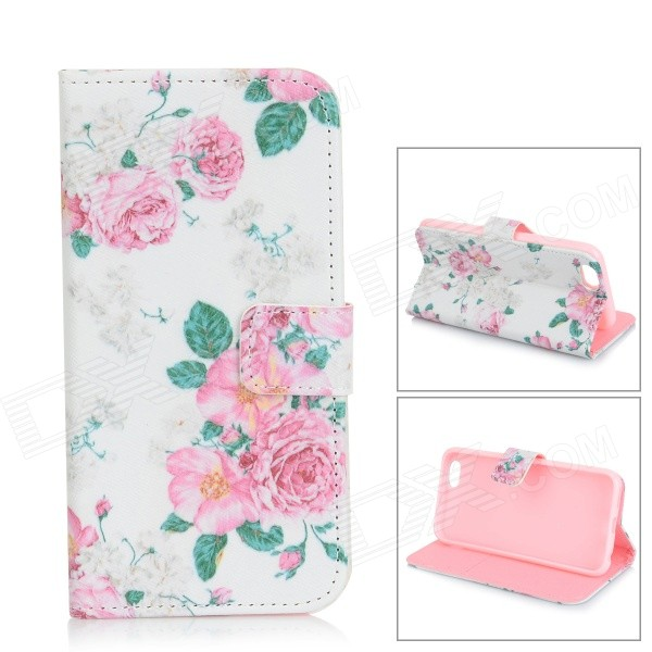 Flowers Pattern Flip-open PU Leather Case w/ Stand / Card Slots for IPHONE 6 - White + Pink angibabe snake skin pattern flip open pu leather case with card slots for iphone 6 4 7 pink