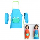 Multifunctional Scrawl Waterproof Aprons Set with Over-sleeves for 2~7 Years Old Kids - Blue