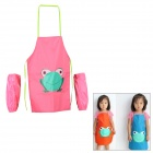 Multifunctional Scrawl Waterproof Aprons Set with Over-sleeves for 2~7 Years Old Kids - Pink