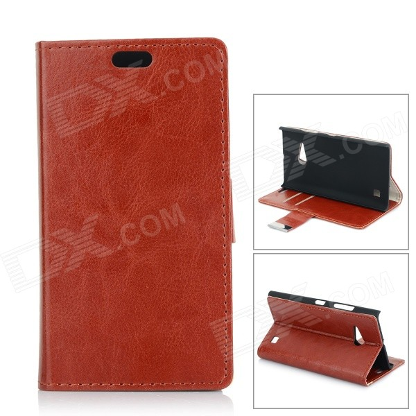 Protective Flip-Open PU + PC Case w/ Stand / Card Slot for Nokia Lumia 730 - Red Brown kinston stylish flip open pu plastic case w stand card slot for nokia lumia 520 4 3 black