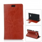 Protective Flip-Open PU + PC Case w/ Stand / Card Slot for Nokia Lumia 730 - Red Brown