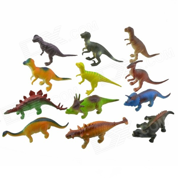 Vinyl Dinosaur Toy Set - Multicolored (12 PCS) 5pcs lot dinosaur eggs park classical dinosaur action figure toy for collection dinosaur model y13