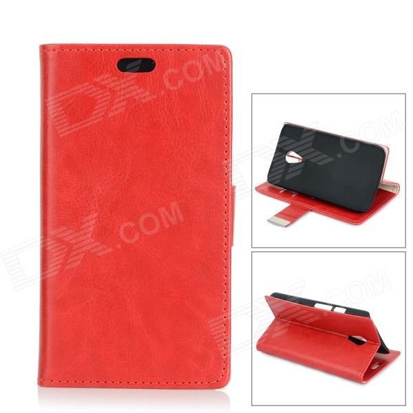 Protective PU + PC Flip-Open Case w/ Stand / Card Slots for Motorola MOTO G2 - Red fly ff281