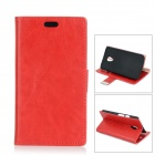 Protective PU + PC Flip-Open Case w/ Stand / Card Slots for Motorola MOTO G2 - Red
