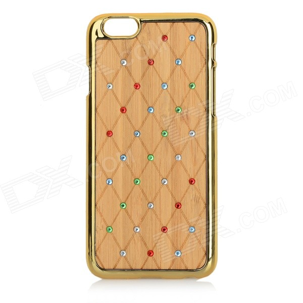 Protective Rhinestone-studded Stylish Plastic + Wood Back Case Cover for IPHONE 6 - Gold + Yellow protective alloy horse decoration rhinestone studded back case for iphone 5 white transparent