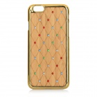 Protective Rhinestone-studded Stylish Plastic + Wood Back Case Cover for IPHONE 6 - Gold + Yellow