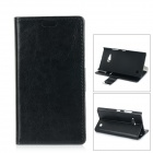 Protective PU + PC Flip-Open Case w/ Stand / Card Slots for Nokia Lumia 730 - Black