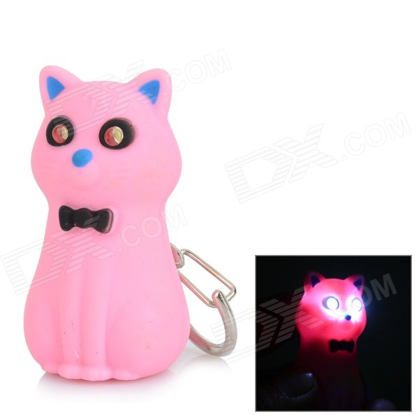 Creative Bowknot Cat Style Keychain w/ 2-LED White Light / Sound Effect - Pink + Black (3 x AG10)