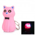 Luova bowknot Cat Style avaimenperä w / 2-LED White Light / Sound Effect-Pink + Musta (3 x AG10)