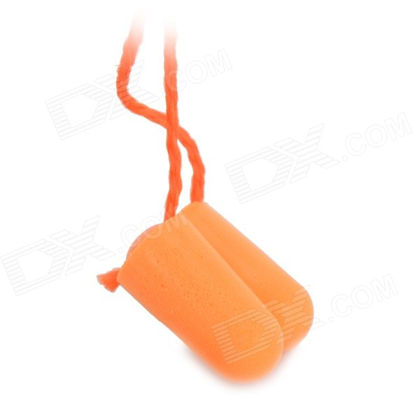 Bullet Style Comfortable Noise Reduction Foam Ear Plugs Set w/ Cord - Orange