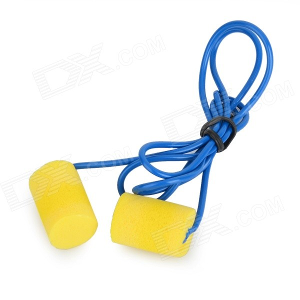 Washable Comfortable Cylindrical PVC Ear Plugs Set w/ Cord - Yellow + Blue