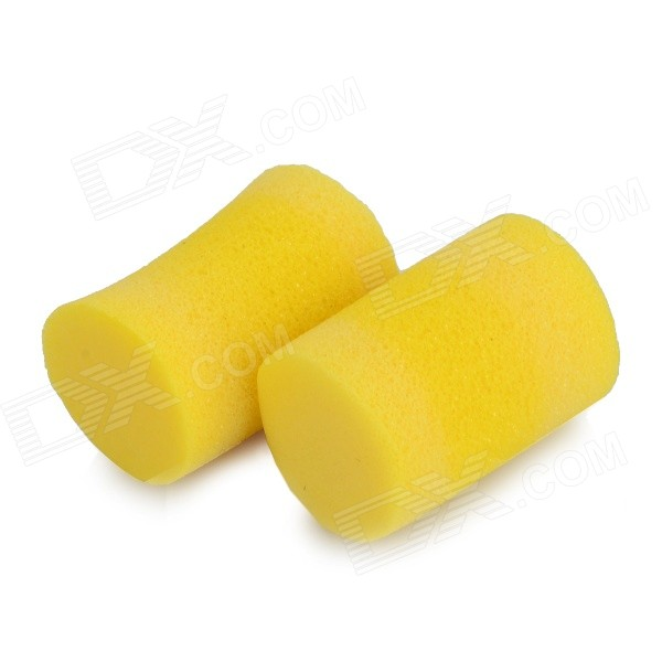 Washable Comfortable Cylindrical PVC Ear Plugs - Yellow (2 PCS)
