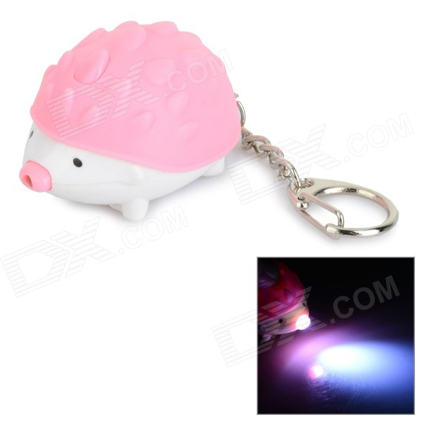 Cute Hedgehog Style Keychain w/ LED White Light + Sound Effect - Pink + White (3 x AG10)