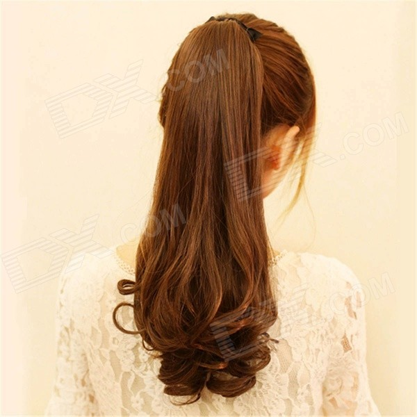 цены  Curly Wavy Ponytail Hairpiece Hair Extension Clip Wig - Light Brown