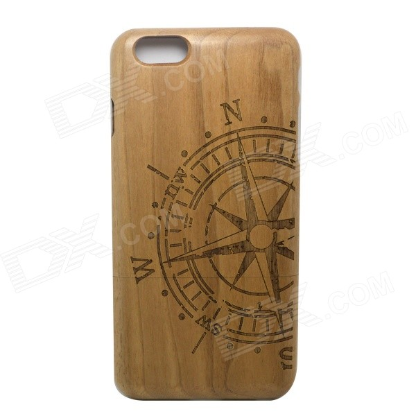 Compass Pattern Detachable Protective Wooden Back Case for IPHONE 6 PLUS - Brown