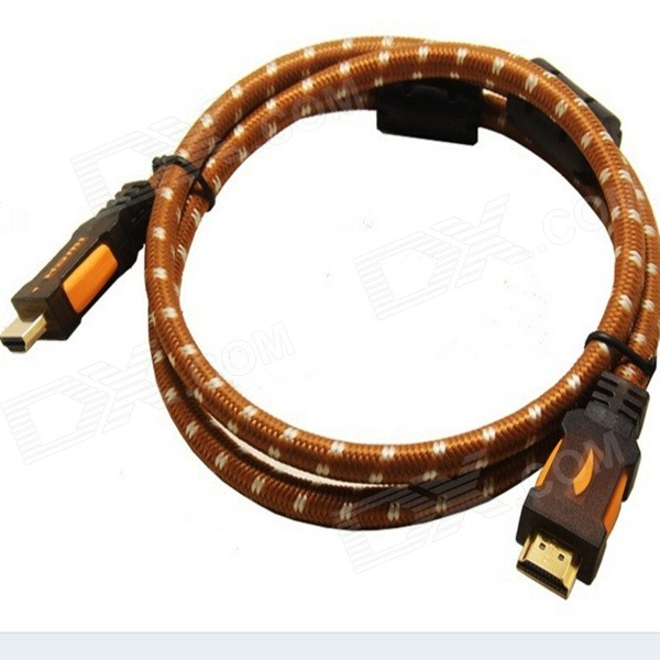 Yellow Knife YK72 HDMI v1.4 Male to Male Digital HD Connection Cable - Brown + White (2m)
