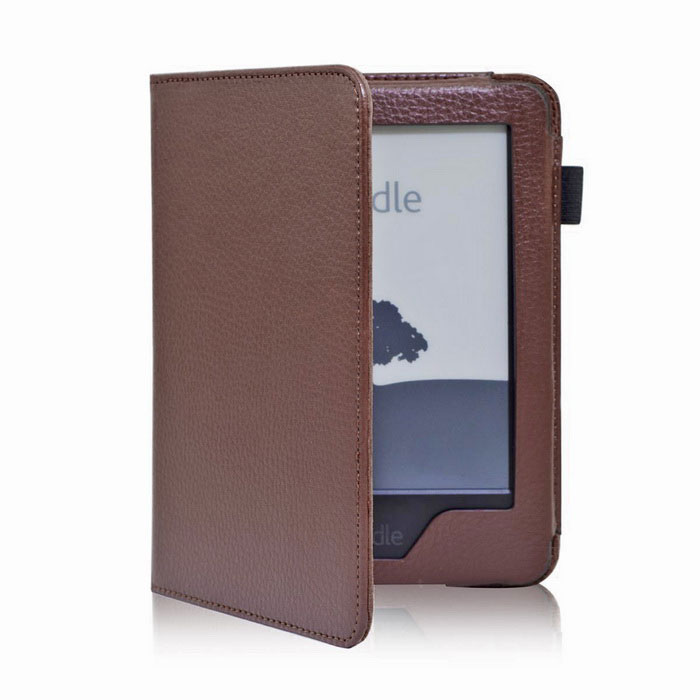 EPGATE A00665 Lychee Pattern Protective PU Flip-Open Case for 6 Amazon 2014 New Kindle - Brown ultra slim protective pu flip open smart case for amazon kindle paper white brown