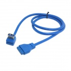 CY U3-174 Single Port USB 3.0 Female Up 90 Degree Angled to Motherboard 20Pin Cable - Blue (60cm)