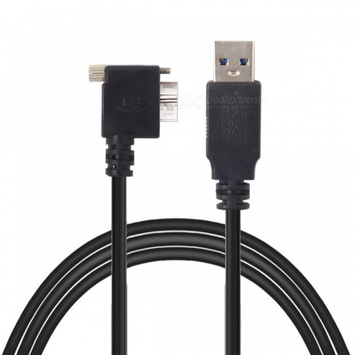 CY U3-176-LE-5.0M USB 3.0 Male to Micro Left Angled 90 Degree Cable With Locking Screws for Nikon