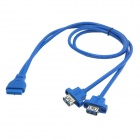 CY U3-177-0.6M Dual Port USB 3.0 Female Screw Mount to Motherboard 20Pin Cable - Blue (60cm)