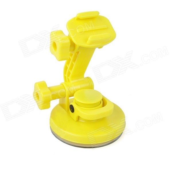 4-in-1 Suction Cup Car Mount Holder for GoPro Hero 4 / 3+ / 3 / 2 / SJ4000 - Yellow bz81 universal floating grip handle mount accessory for gopro hero 4 2 3 3 yellow