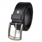 M155 Men's Fashion Top Cow Leather Belt w/ Pin Buckle - Black