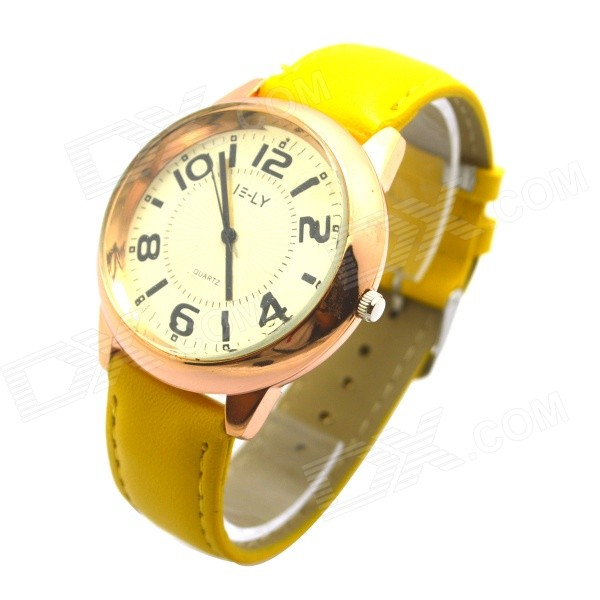 E-LY E10 Women's Analog Quartz Wrist Watch w/ Arabic Numeral Scale - Yellow