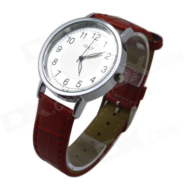 E-LY E11 Women's Analog Quartz Wrist Watch w/ Arabic Numeral Scale - Red + Silver