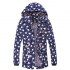 Autumn and Winter Men's Fashion Letters Printed Pattern Warm Cotton Coat - Blue + White (XXL)