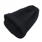 Women's Stylish Twist Pattern Knitting Wool Hat - Black