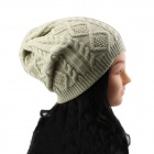 Women's Stylish Twist Pattern Knitting Wool Hat - Beige