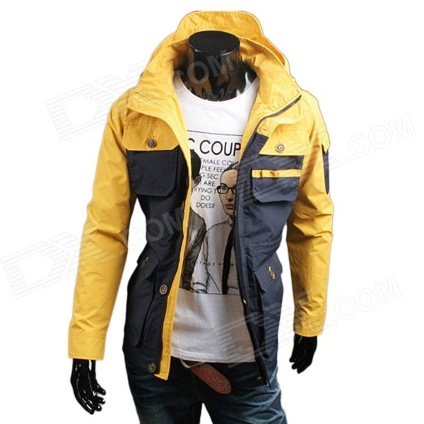 WS715 2014 Autumn / Winter Men's Multi-pocket Polyester Slim Jacket - Yellow + Blue (L)