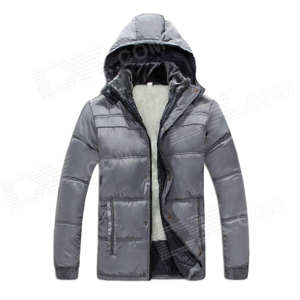 P55 Men's Warm Zippered Hooded Cotton Jacket Coat - Light Grey (L) kids girls winter hooded down jacket padded children long cotton coat style thickened baby thick warm kid s clothing overcoat