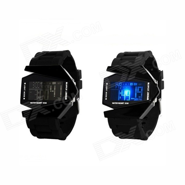Men's Fighter Appearance Design 50m Waterproof Digital LED Watch - Black (1 x CR2016)