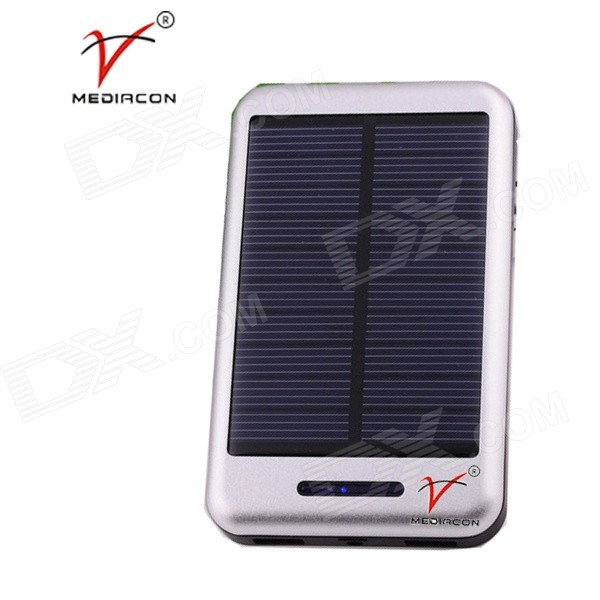 MEDIACON SP30000A Universal 1A 5V 30000mAh Li-ion Polymer Solar Power Bank Charger - Silver 30a 3s polymer lithium battery cell charger protection board pcb 18650 li ion lithium battery charging module 12 8 16v