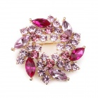 eQute XPEW23C4 Gorgeous Stylish Shiny Rhinestones Studded Flower Petal Brooch - Pink + Red